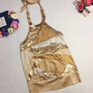 Bebe sexy gold sequin party halter top size XS